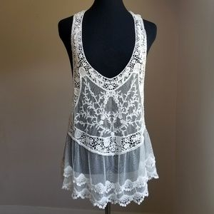 NWOT White Mesh and Lace Tank Top Cover Up
